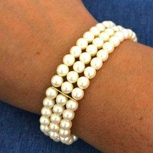 Carolee Triple Strand Faux Pearl Bracelet